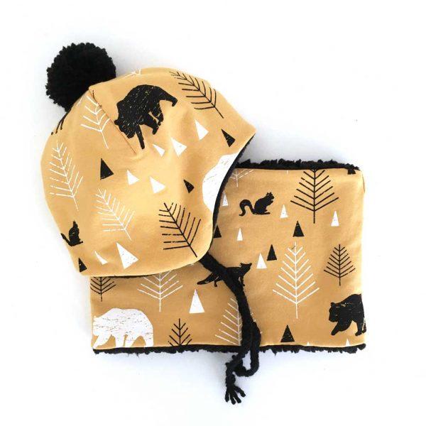 Snood-bonnet-forest-moutarde-pompon
