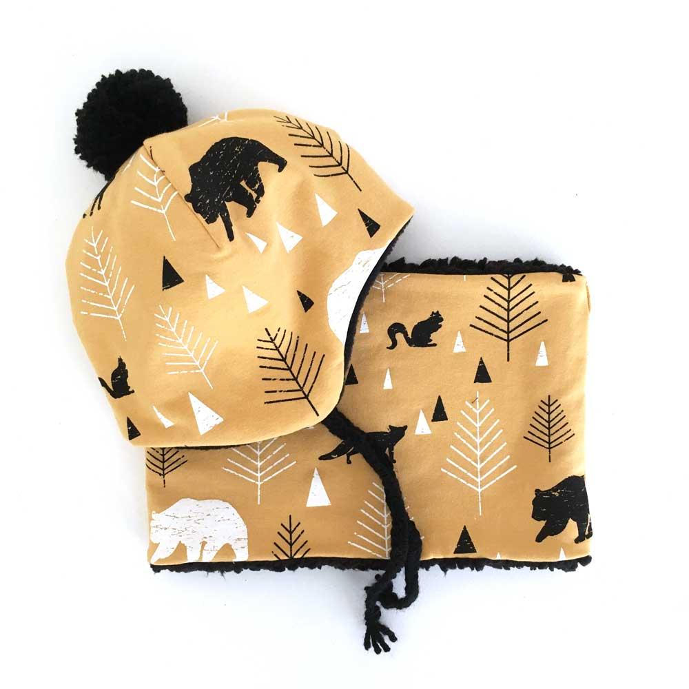 Snood et bonnet Pompon - Forest moutarde