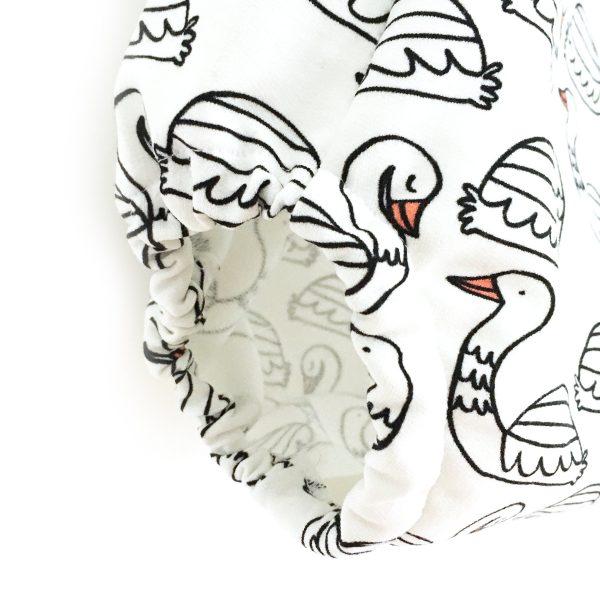 Barboteuse été imprimée cygnes, barboteuse à  bretelles dos croisé