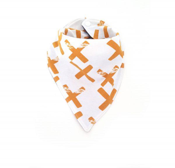 bavoir bandana jersey croix moutarde, Bavoir anti bavouille, Bavoir moderne, bavoir moutarde