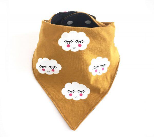 bavoir bandana jersey nuages mignons, Bavoir anti bavouille, Bavoir moderne, bavoir moutarde