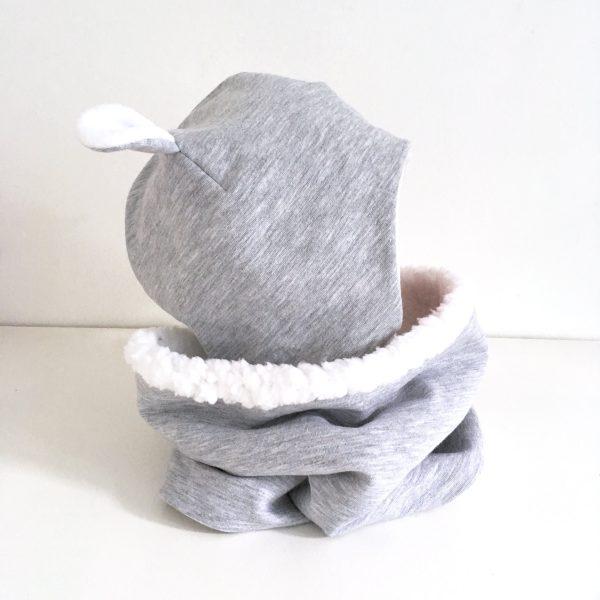 Bonnet avec oreilles ours et snood assorti à personnaliser, pour bébé et enfant