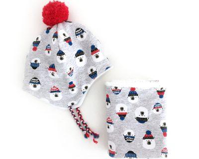 Bonnet pompon laine et snood assorti à personnaliser