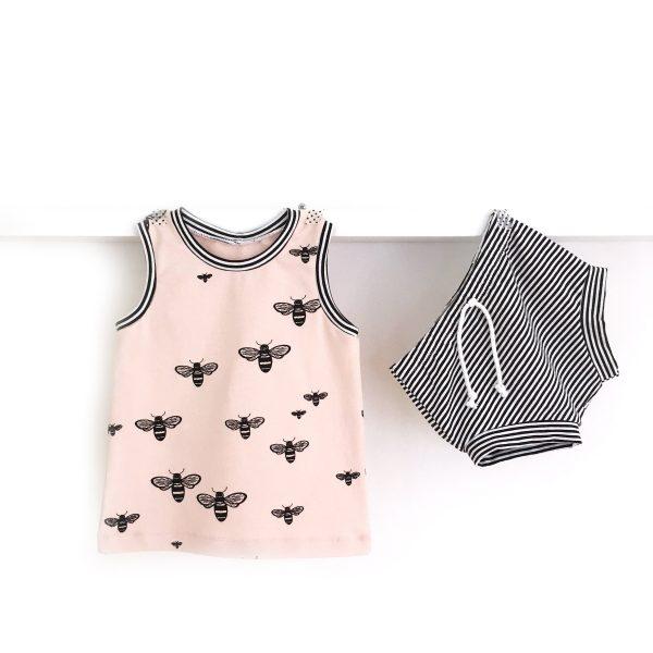 Ensemble bébé ABEILLES : short rayé + débardeur rose en jersey biologique