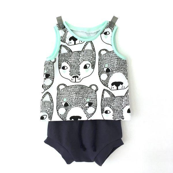 Ensemble bébé OURS ET RENARDS  : short marine + débardeur ours et renards noir et blanc