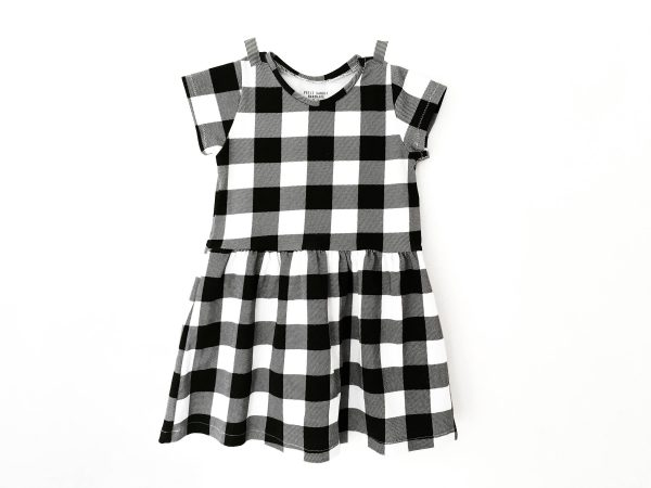 Robe enfant en vichy noir et blanc, robe manches courtes à gros carreaux bébé et filles 0