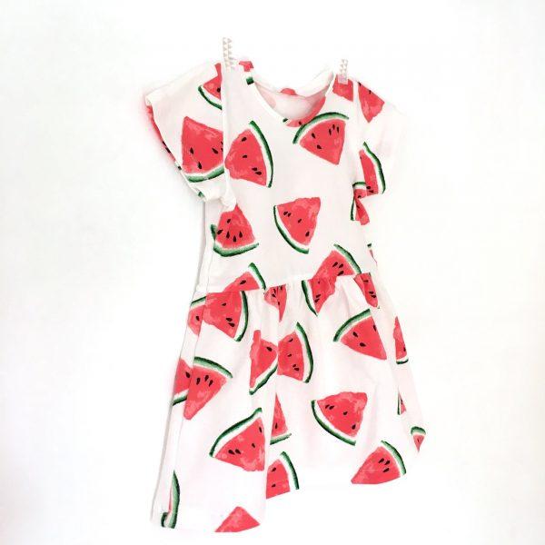 Robe enfant imprimée pastèques, robe manches courtes bébé et filles 0
