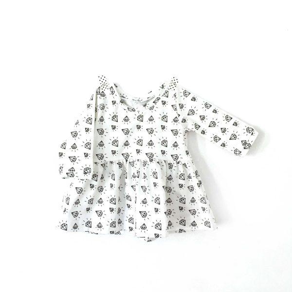 Robe hiver bébé et fille en jersey imprimé diamants