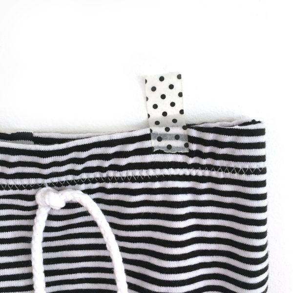 Short bébé jersey, rayé noir et blanc