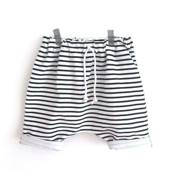 Short sarouel  MARIN, rayé noir et blanc