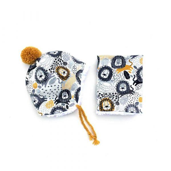 Bonnet pompon laine et snood assorti pour bébé et enfant, motif LIONS