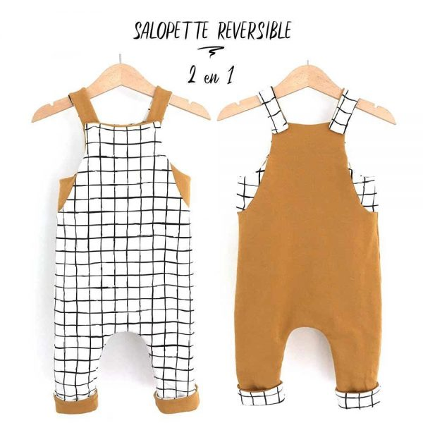 Salopette doublée réversible :  GRID / MOUTARDE