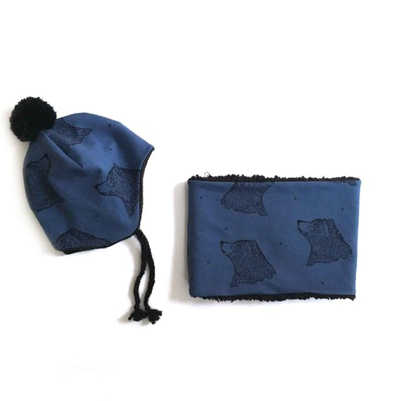 Ensemble Bonnet pompon et snood enfant, Curious BEAR bleu