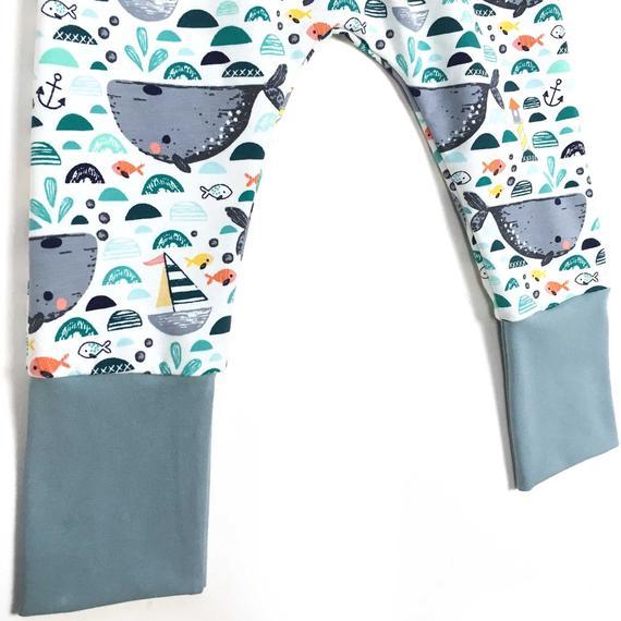 Sarouel évolutif, Sarouel bébé, sarouel enfant,  sarouel jersey SEA WORLD, imprimé baleines