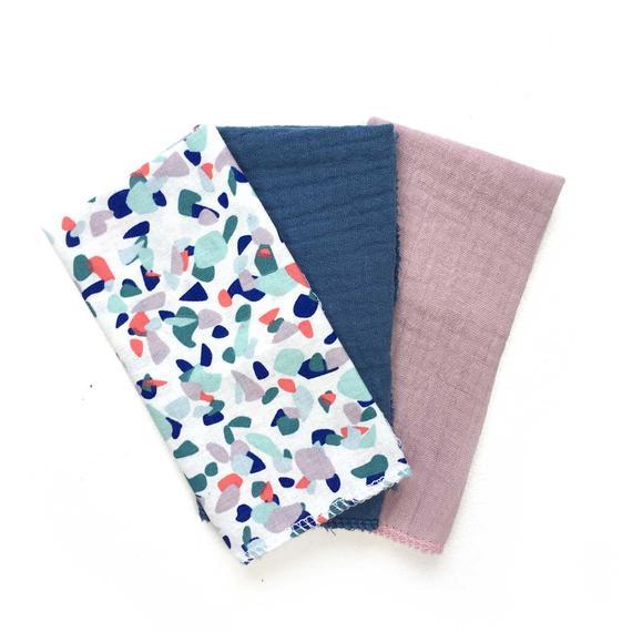 Mouchoirs en tissu, Lot de 3 mouchoirs lavables, zéro déchet, motif terrazzo et double gaze