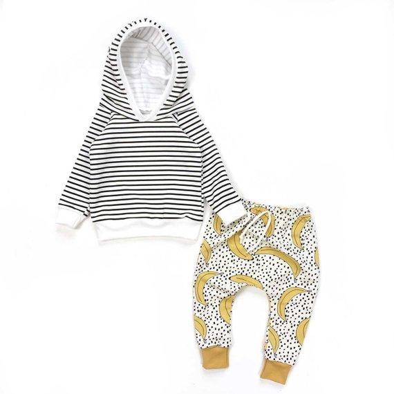 Sarouel bébé et enfant, motif bananes, pantalon jersey biologique pour fille et garçon