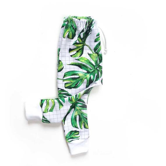 Pantalon Sarouel bébé et enfant MONSTERA, Pantalon sarouel bébé tropical